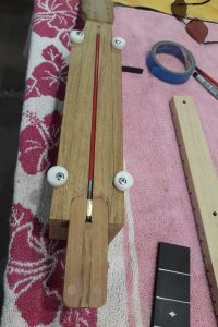 Truss rod installed into neck