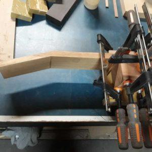 Heel block glued & clamped