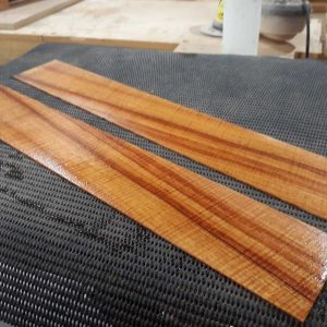 2. Sides wetted for bending (also gives an indication of final wood colour)