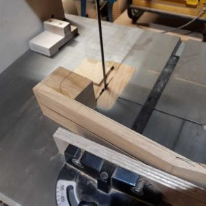 14. Neck profile marked for rough cutting